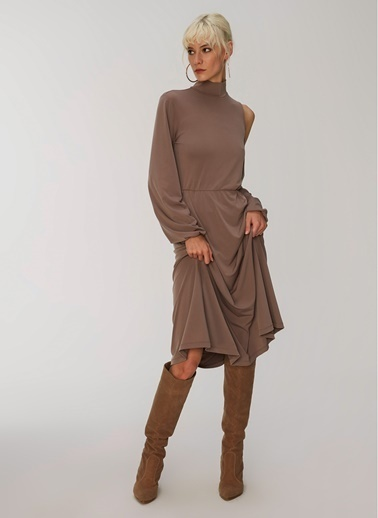 People By Fabrika Omuz Detaylı Elbise Vizon